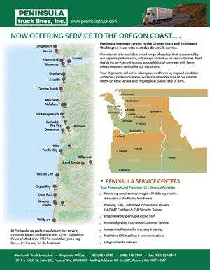 Peninsula Truck Lines Oregon Coast - New Service!