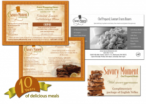 Savory Moment logo, advertising handouts, magazine ad